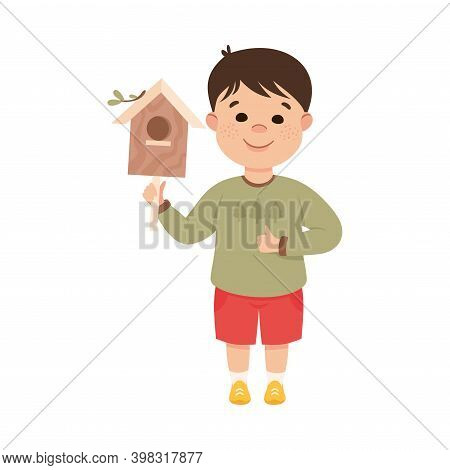 Obedient Boy With Good Breeding Holding Wooden Bird House Vector Illustration