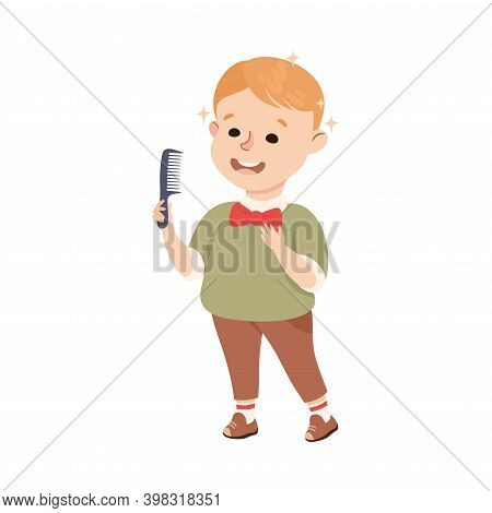 Obedient Boy With Good Breeding Combing His Hair And Grooming Vector Illustration