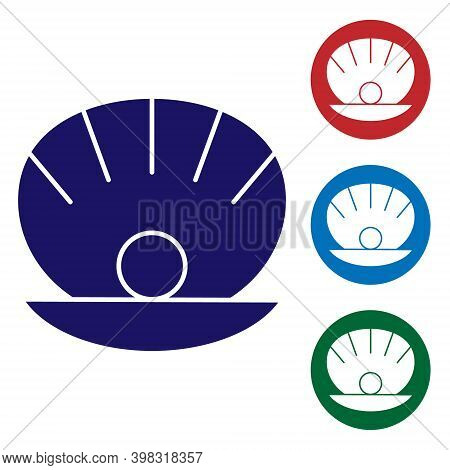 Blue Natural Open Shell With Pearl Icon Isolated On White Background. Scallop Sea Shell. Seashell Si