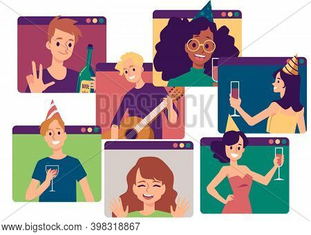 Online Video Virtual Birthday, Party Or Meeting With Friends A Vector Illustration