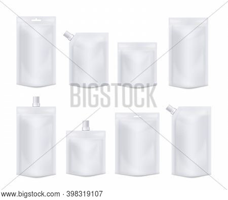 Vector Templates Of White Blank Realistic Pouches From Foil, Food Containers