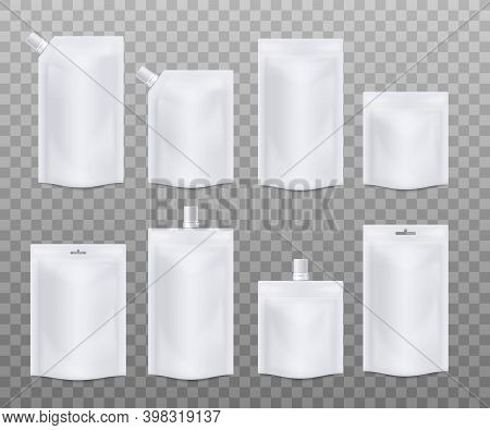 Templates Of Blank White Doy Packs Set Realistic Vector Illustration Isolated.