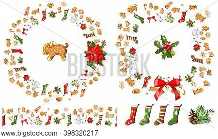 Vector Festive Frame, Wreath, Endless Border Isolated On White. Gingerbreads And Christmas Symbols.