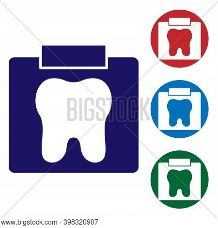 Blue X-ray Of Tooth Icon Isolated On White Background. Dental X-ray. Radiology Image. Set Icons In C