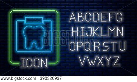 Glowing Neon X-ray Of Tooth Icon Isolated On Brick Wall Background. Dental X-ray. Radiology Image. N