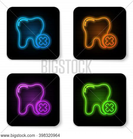 Glowing Neon Tooth With Caries Icon Isolated On White Background. Tooth Decay. Black Square Button.