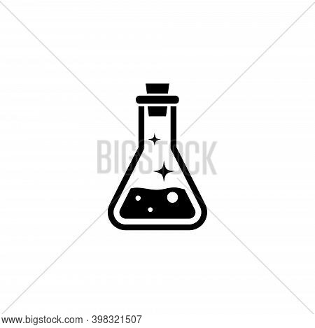 Health Magic Mana Potion, Elixir Bottle. Flat Vector Icon Illustration. Simple Black Symbol On White
