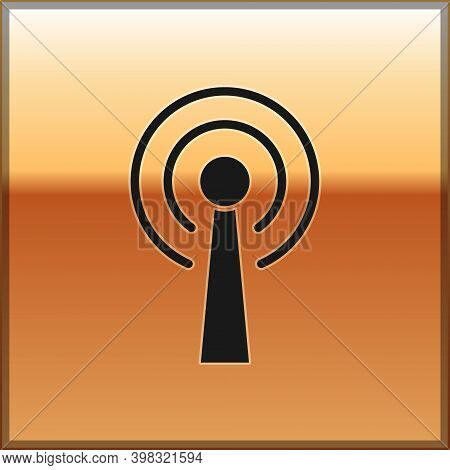 Black Antenna Icon Isolated On Gold Background. Radio Antenna Wireless. Technology And Network Signa