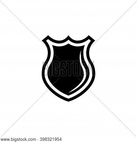 Police Officer Badge, Sheriff Shield. Flat Vector Icon Illustration. Simple Black Symbol On White Ba