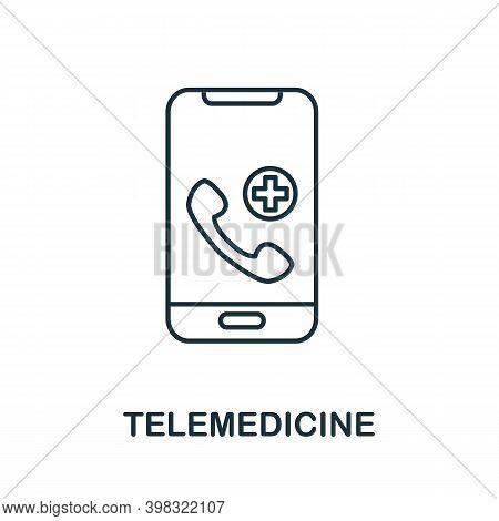 Telemedicine Icon. Line Style Element From Digital Healthcare Collection. Thin Telemedicine Icon For