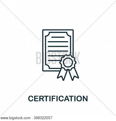 Certification Icon. Line Style Element From Gdpr Collection. Thin Certification Icon For Templates,