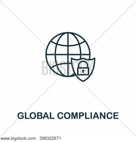 Global Compliance Icon. Line Style Element From Gdpr Collection. Thin Global Compliance Icon For Tem