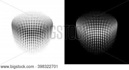 Halftone Crcle Dots 3d Logo Emblem Design Element For Technology, Medical, Treatment, Cosmetic. Thre