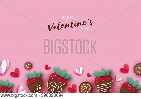 Love Strawberry And Chocolate. Valentines Day Greeting Card. Hearts Paper Cut Style. Sweet Dessert,