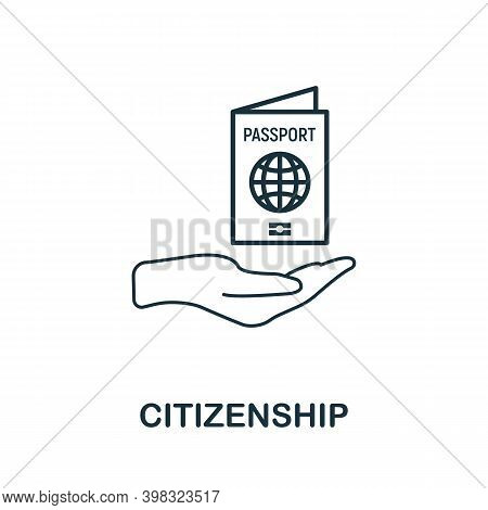 Citizenship Icon. Line Style Element From Life Skills Collection. Thin Citizenship Icon For Template