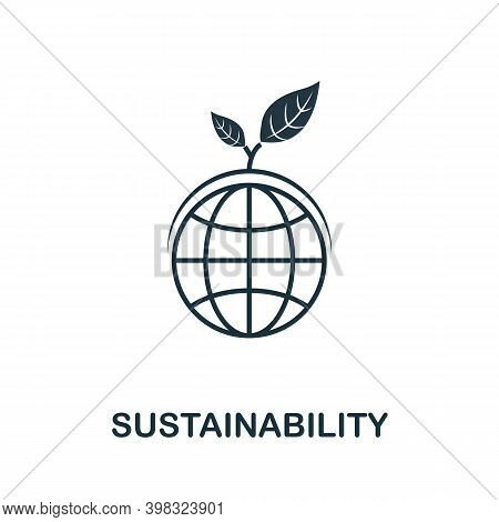 Sustainability Icon. Line Style Element From Life Skills Collection. Thin Sustainability Icon For Te