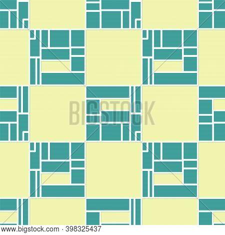 Green House Edificio Mirador Icon Isolated Seamless Pattern On Yellow Background. Mirador Social Hou