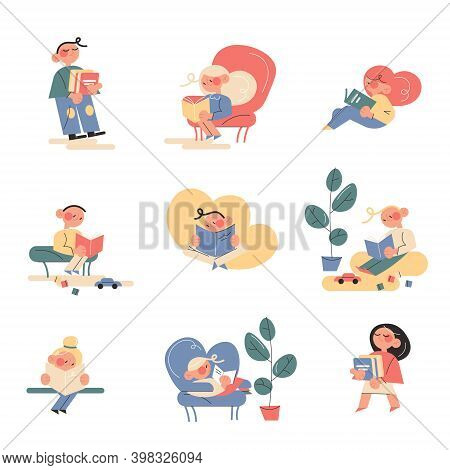 Set Of Happy Kids Enjoying Reading Books Indoors And Outdoors