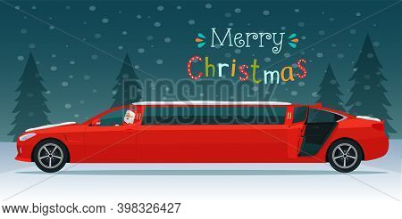 Merry Christmas Stylized Typography. Red Limousine With Santa Claus On The Background Of A Winter La