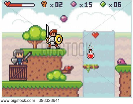 Pixel Game Interface. Knight Wear Armor Is Holding Sword In His Hands. Way Through Deep. Life Scale,