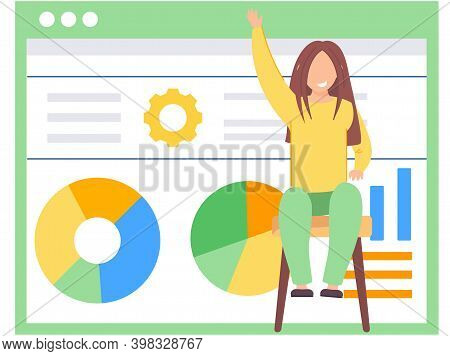 Happy Girl Sitting On A Chair And Raising Her Hand Up. Adolescent Learning Activity Indicators. Data