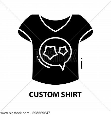 Custom Shirt Icon, Black Vector Sign With Editable Strokes, Concept Illustration