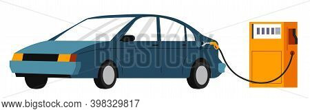 Car On Gas Station, Refilling With Gasoline Vector