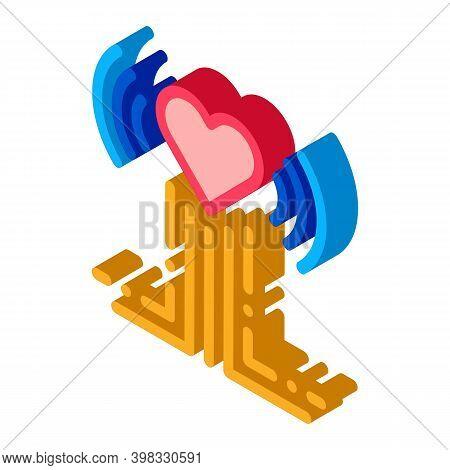 Heart Beat Examination Icon Vector. Isometric Heart Beat Examination Sign. Color Isolated Symbol Ill