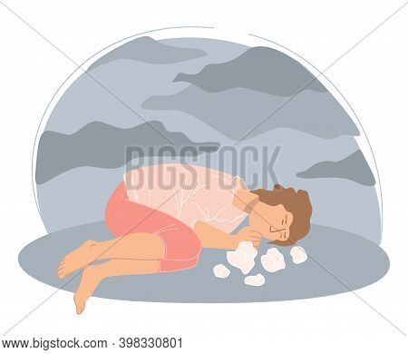 Desperate Depressed Woman Laying And Crying Vector