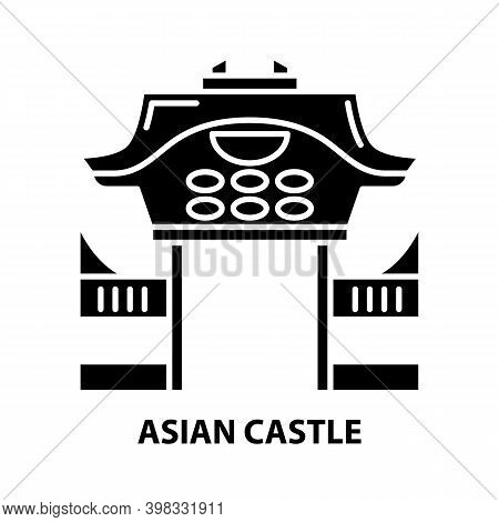 Asian Castle Icon, Black Vector Sign With Editable Strokes, Concept Illustration