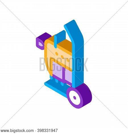 Drain Cleaning Machine On Cart Icon Vector. Isometric Drain Cleaning Machine On Cart Sign. Color Iso