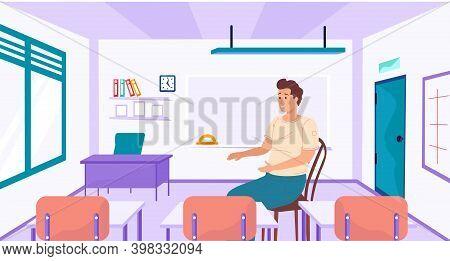 Back To School Interior Of Room For Teacher. School Worker, Teacher In Empty Classroom At School. Wo