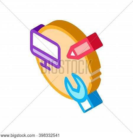 Web Site Creature And Repair Icon Vector. Isometric Web Site Creature And Repair Sign. Color Isolate