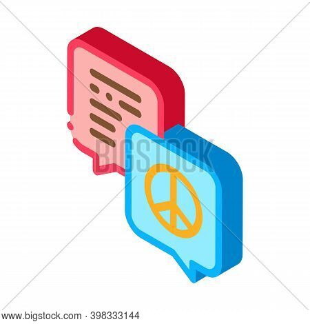 Talking About Tolerance And Peace Icon Vector. Isometric Talking About Tolerance And Peace Sign. Col