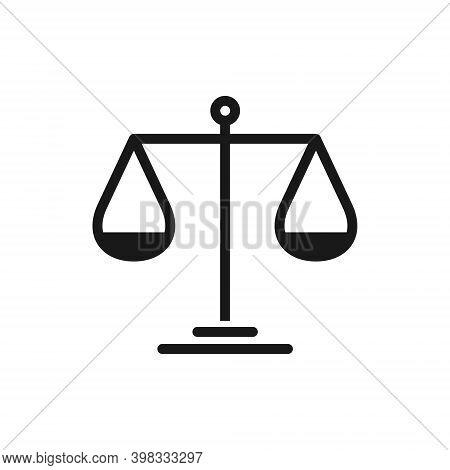 Scale Vector Icon. Justice Libra Symbol. Balance And Compare Logo.