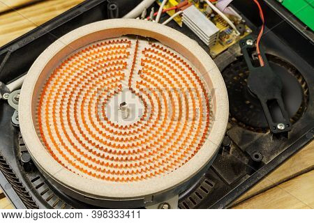 A Close-up Of A Heated Spiral On A Stove. Red Heating Element Of The Electric Stove