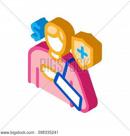 Trauma Insurance Icon Vector. Isometric Trauma Insurance Sign. Color Isolated Symbol Illustration