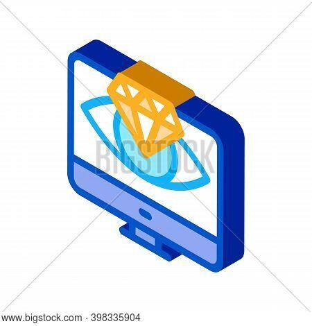 Diamond Vision Computer Screen Icon Vector. Isometric Diamond Vision Computer Screen Sign. Color Iso