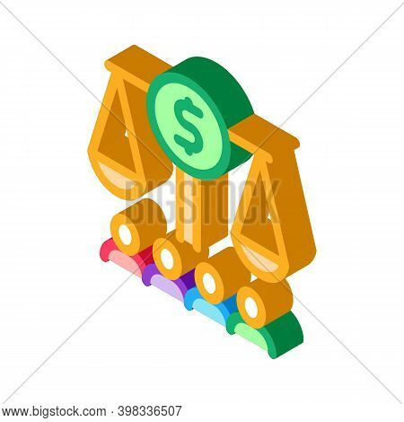 Scales With Money Nd Businesspeople Icon Vector. Isometric Scales With Money Nd Businesspeople Sign.