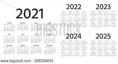 Calendar 2021, 2022, 2023, 2024, 2025 Years. Vector. Week Starts Monday. Simple Calender Layout. Des