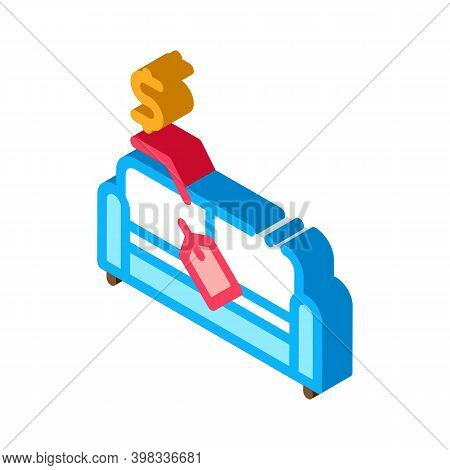 Sofa Selling Icon Vector. Isometric Sofa Selling Sign. Color Isolated Symbol Illustration