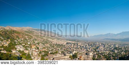 Old Albanian town of Berat is one of the well-known UNESCO landmarks of the country. Panorama seen from the castle above the town