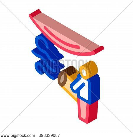 Worker Heating Stretch Ceiling With Fan Icon Vector. Isometric Worker Heating Stretch Ceiling With F