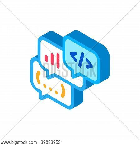Codding Operation Programmer Discussing Icon Vector. Isometric Codding Operation Programmer Discussi
