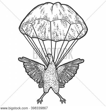 Turkey Is Hovering In A Parachute. Engraving Raster Illustration.