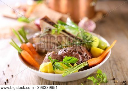 beef,  broth and vegetables- pot au feu