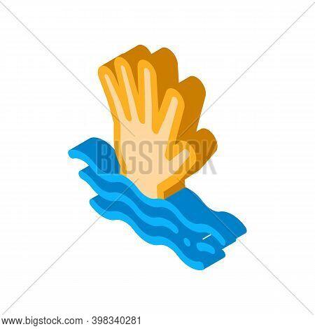 Saving Drowning Man Icon Vector. Isometric Saving Drowning Man Sign. Color Isolated Symbol Illustrat