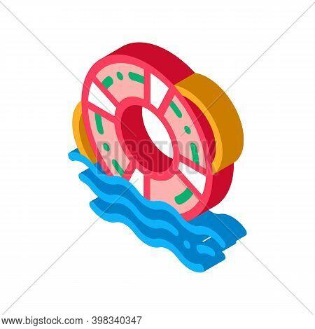 Lifebuoy Rescue Tool Icon Vector. Isometric Lifebuoy Rescue Tool Sign. Color Isolated Symbol Illustr