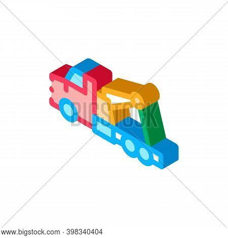Rescue Truck Icon Vector. Isometric Rescue Truck Sign. Color Isolated Symbol Illustration