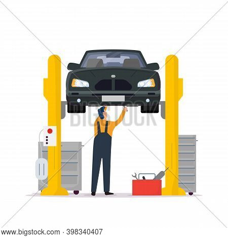 Car Service And Repair. Repair Man Standing Under Lifted Car In Repair Shop And Fixing Car Braking.